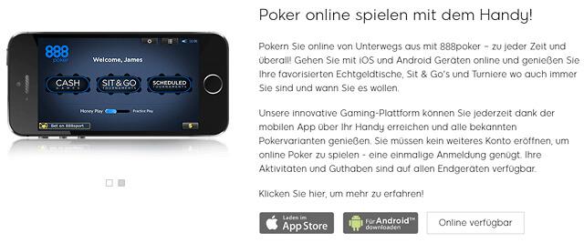 888Poker ermöglicht das mobile Pokern mit nativen Apps für iOS und Android (Quelle: 888Poker)