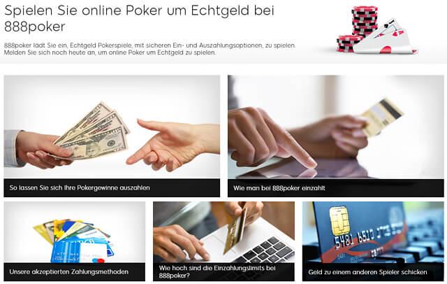 888Poker bietet diverse Möglichkeiten für die Ein- und Auszahlungen an (Quelle: 888Poker)