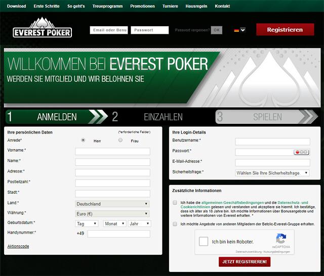 Anmelden, einzahlen, spielen - so einfach geht's bei Everest Poker (Quelle: Everest Poker)