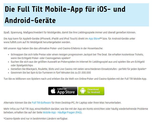 Selbstverständlich gibt es auch mobile Apps von Full Tilt Poker für Apple- und Android-Geräte (Quelle: Full Tilt Poker)