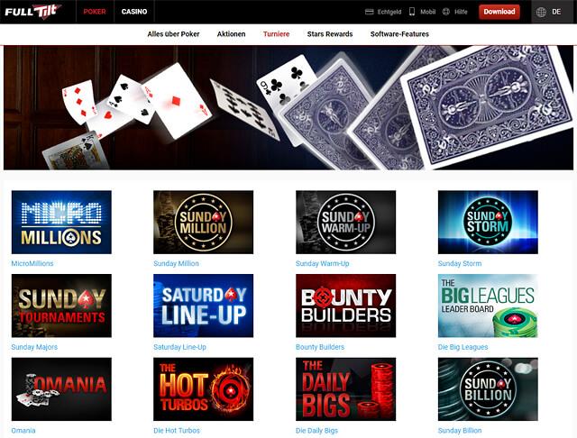 Full Tilt Poker hält eine große Auswahl an Poker-Turnieren bereit (Quelle: Full Tilt Poker)