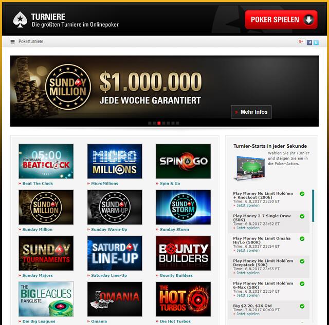 """""""Turnier-Starts in jeder Sekunde"""" lautet das Versprechen bei Pokerstars (Quelle: Pokerstars)"""