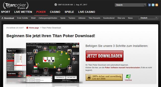 Per Software-Download in drei Schritten zur erfolgreichen Titan Poker-Mitgliedschaft (Quelle: Titan Poker)