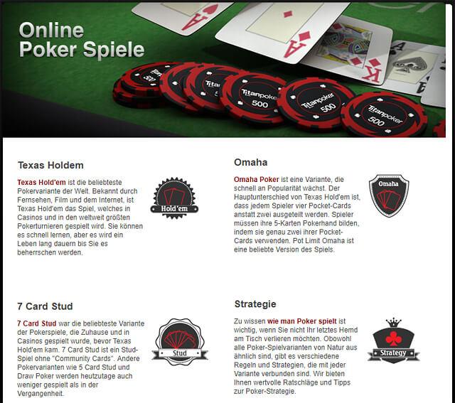 Titan Poker bietet die Poker-Varianten Texas Hold'em, Omaha und 7 Card Stud an (Quelle: Titan Poker)