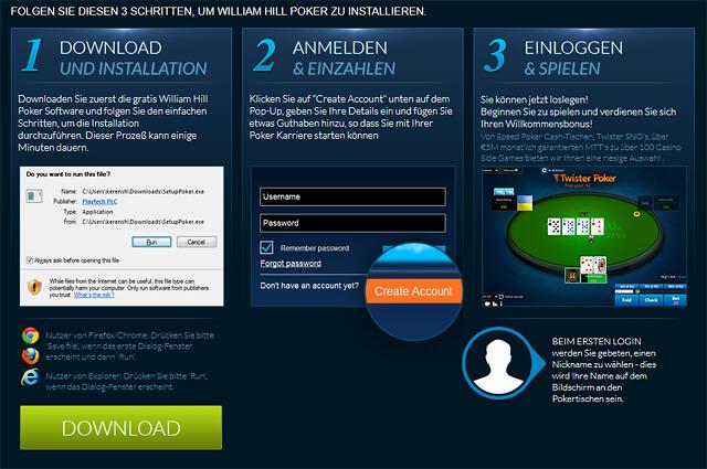 In drei Schritten bei William Hill Poker mitmischen können (Quelle: William Hill Poker)