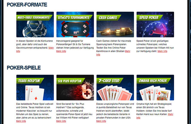 An Poker-Formaten und -Spielen mangelt es bei William Hill Poker nicht (Quelle: William Hill Poker)