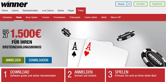 Winner Poker wirbt offensiv mit einem Bonus von bis zu 1.500 Euro für die erste Einzahlung (Quelle: Winner Poker)